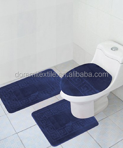 100% Polyester Microfiber Shaggy Bath Room 3-pcs set mats