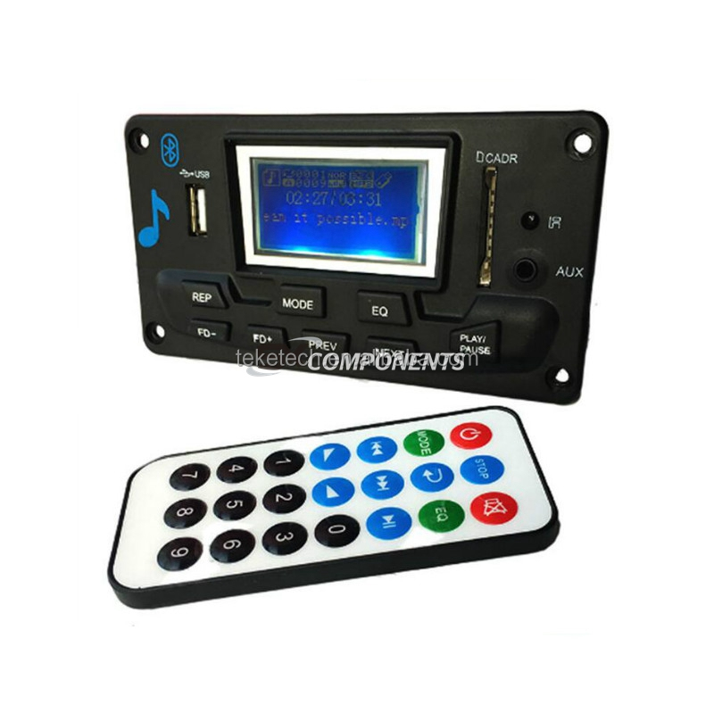 12V LCD Bluetooth MP3 Decoder Board WAV WMA Decoding MP3 Player Audio Module Support FM Radio AUX USB With Lyrics Display