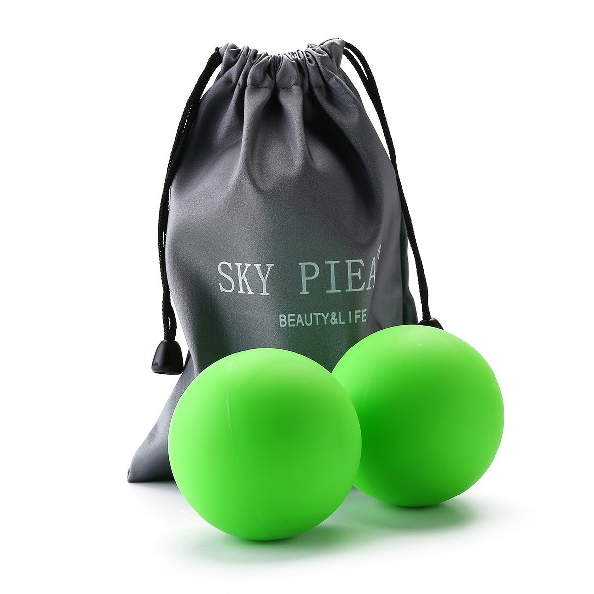 Massage Therapy Balls by Sky Piea, Deep Tissue Trigger Point, Foot Massager, Mobility, Plantar Fasciitis, Reflexology, Sore Muscles Relief Relax Medium Firm Rubber Balls, Set of 2