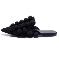 Wholesale low price slip-on sexy casual shoes black flat mules slippers ladies