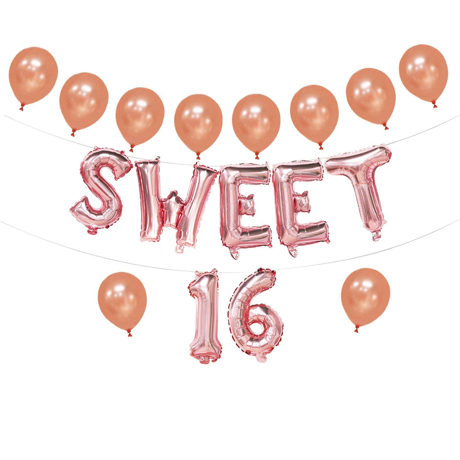 Get Quotations Sweet 16 Balloons Rose Gold