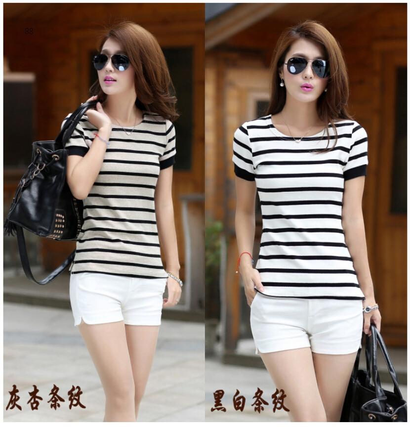 Лето стиль корейский леди тис короткий рукав полоска футболки
