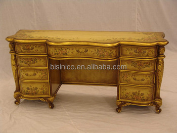 Antique Hand Carved Bedroom Furniture, Luxury Gold Painted Wooden Dresser,  Classical Drawing Art Dressing
