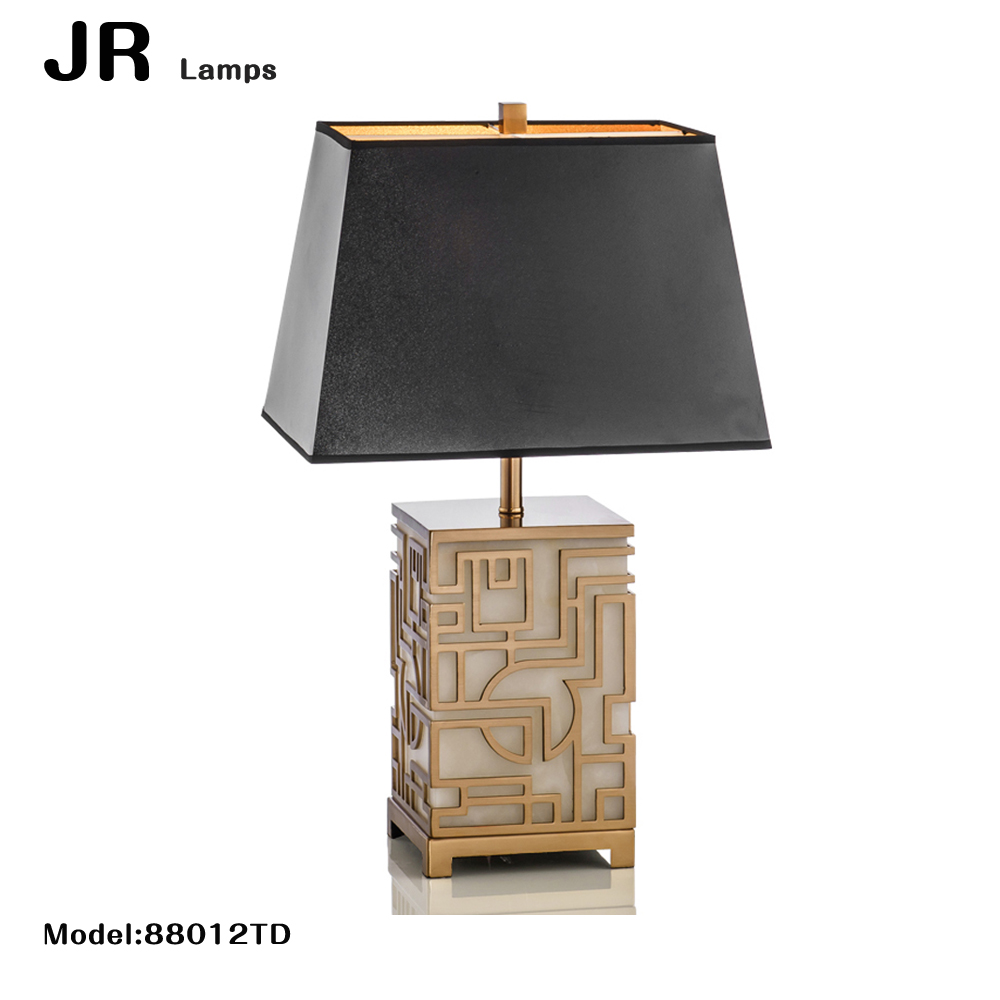 2017new hot Hotel decoration home LED table lighting square marble table lamp Black lampshade fashionable led table lamp