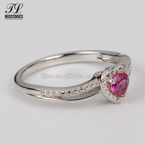 Pink Heart shape cubic zirconia pave crystal prong 999 silver ring,wholesale jewelry pieces