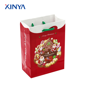 Promotional china alibaba mini christmas gift paper bag with rope handle