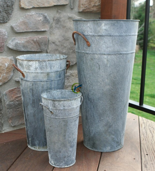 Tall Vintage Style Zinc Metal French Flower Buckets Buy Flower