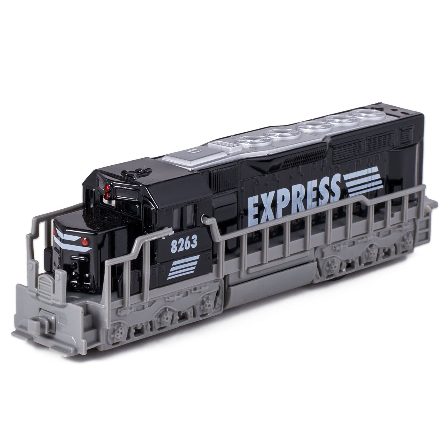 "7"" Black Die Cast Freight Train Locomotive Toy with Pull Back Action"