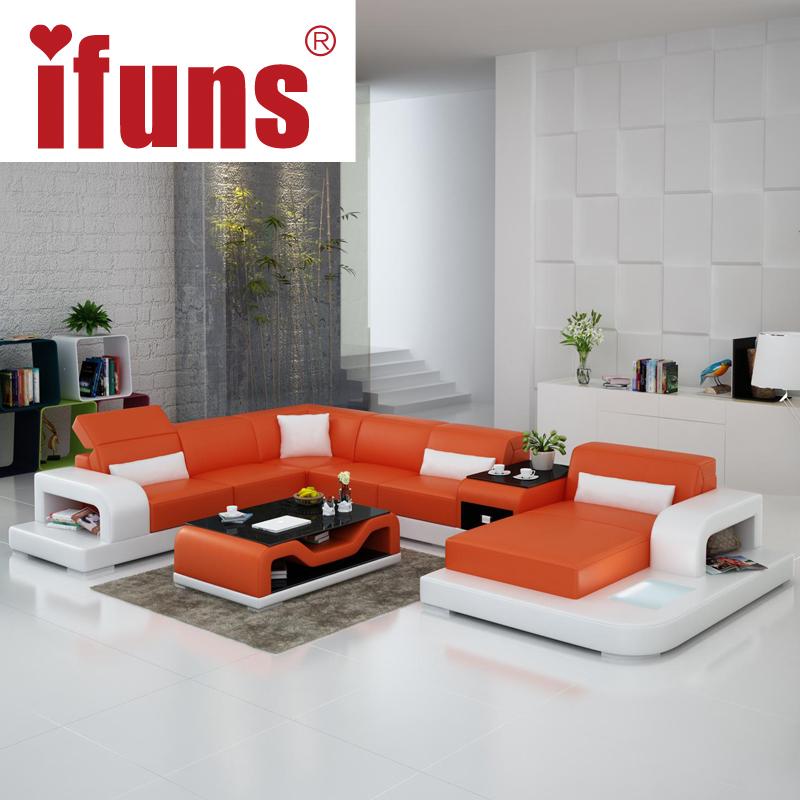 Large U Sectional Sofas: IFUNS Extra Large Size U Shaped Couch, Genuine Leather