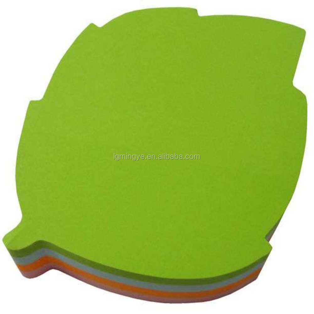 color assorted leaf shaped sticky note pad