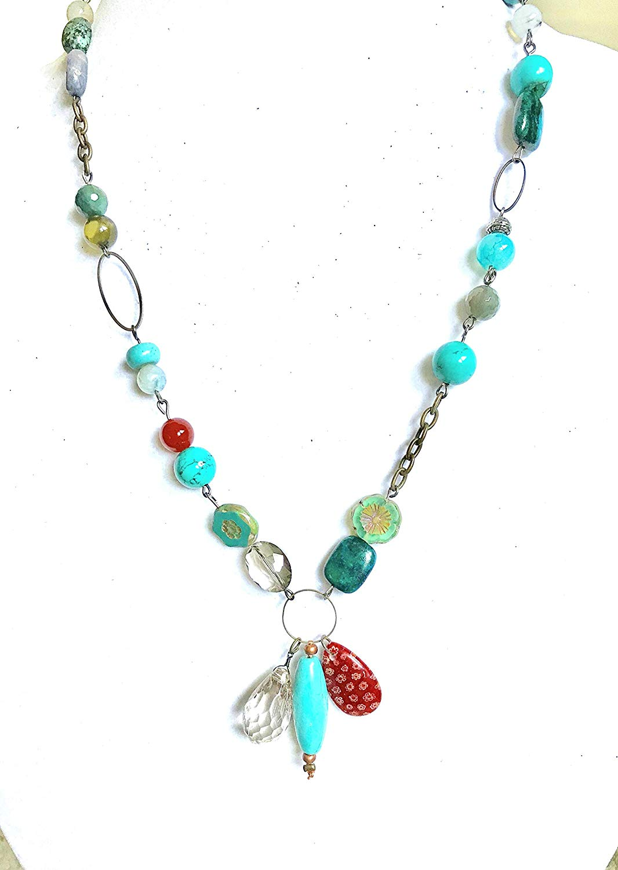 Boho chic necklace, women short necklace, beaded handmade women necklace, colorful chain necklace, teenager gift, graduation gift