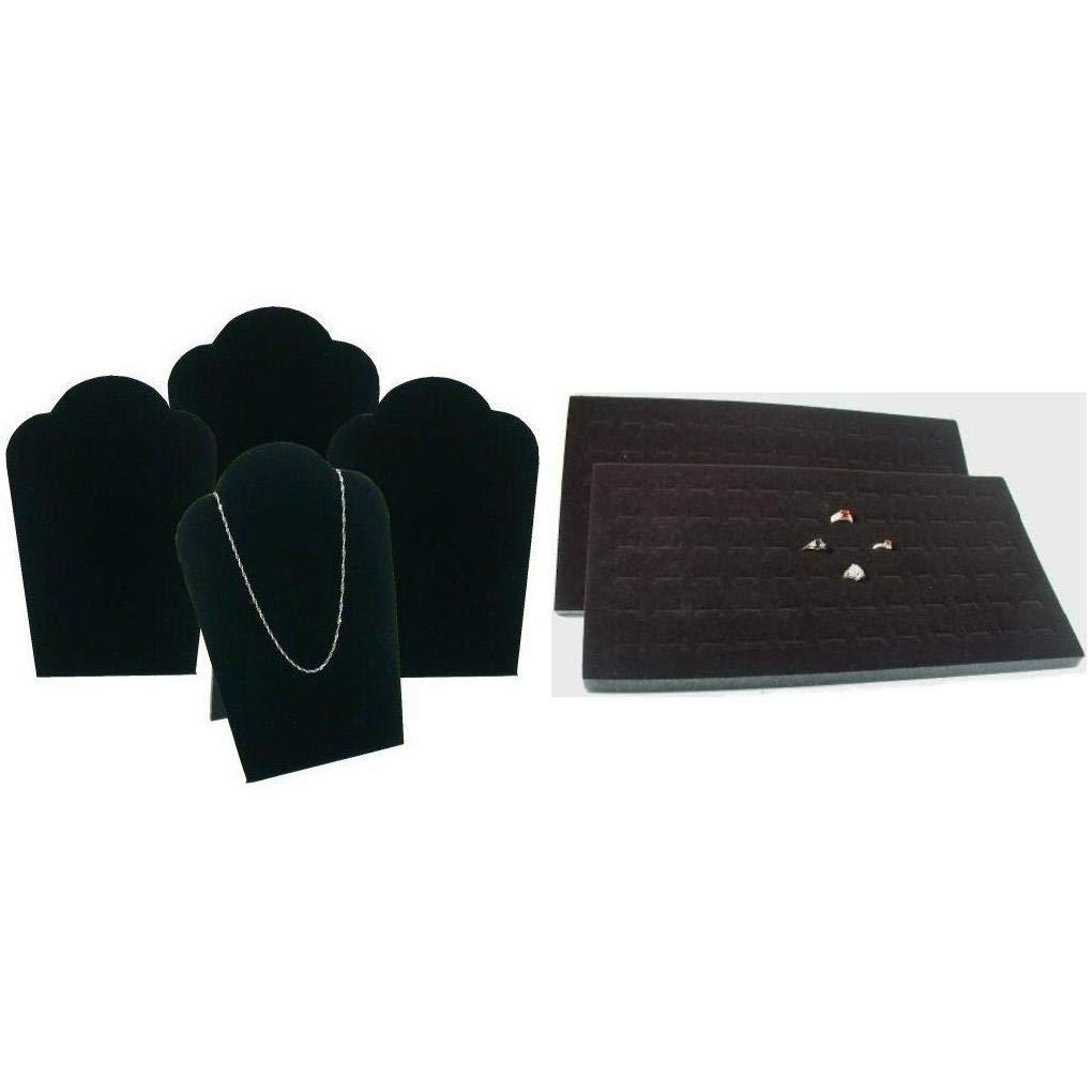 Black Foam Ring Display Tray Inserts & Padded Velvet Necklace Easels Kit 6 Pcs
