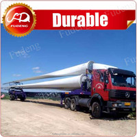 10-25m wind blade transport withdrawing extendable low loader trailer