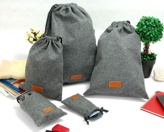 Felt Drawstring Bags Traveling Ng Gift Gathering Leather Lable Embossed