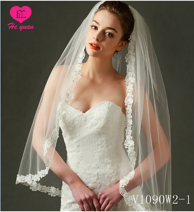V1090W2-1Free shipping wholesale beaded trim wedding accessory two layers short bridal veils with Elegant bridal veil