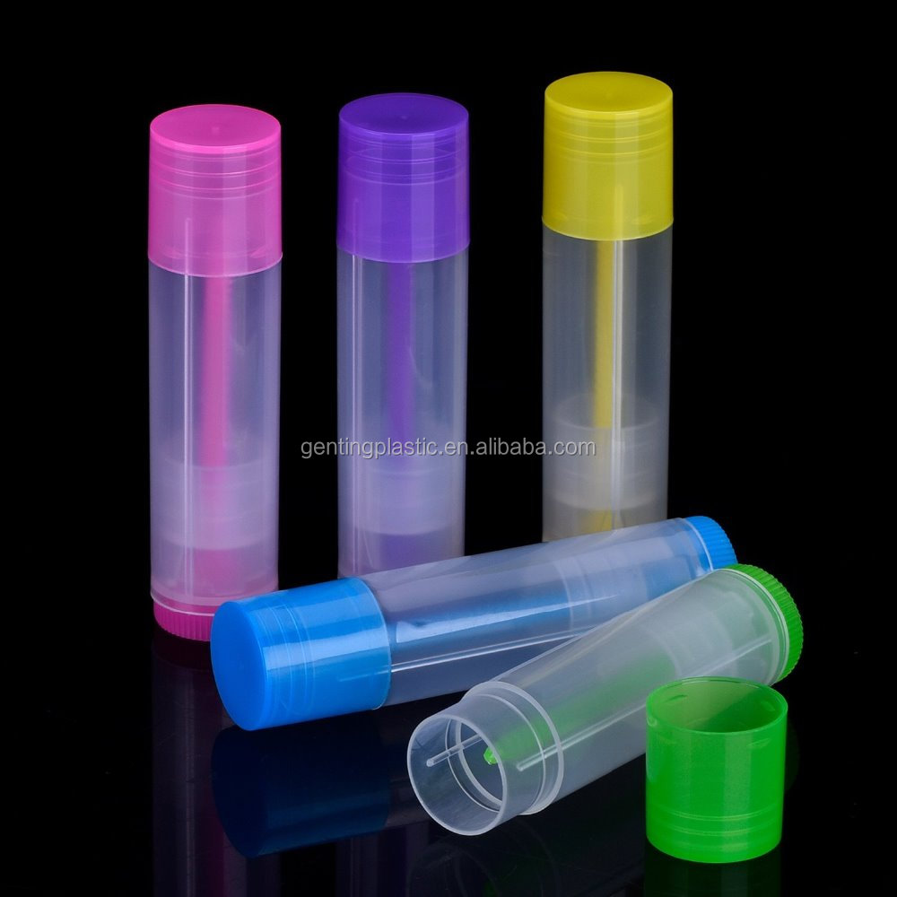 Lip Balm Empty Container Clear Tubes with Twist Bottom and Top Cap, 3/ 16 Oz (5.5 ml) (Multicolor)