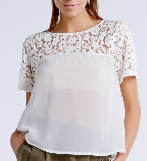 custom design sexy lace chiffon tops cream shirt latest