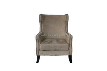 Awesome Gray Suede Comfortable Upholstered Wing Back Sofa Chair Buy High Wing Back Chairs Antique Wooden Wing Back Chairs Single Sofa Chairs Product On Gmtry Best Dining Table And Chair Ideas Images Gmtryco