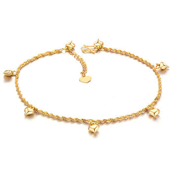 sold ankle real anklet pin solid gold bracelet