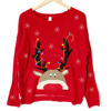 PK18ST042 fashion clothing for lady lastest design snow and reindeer christmas sweaters