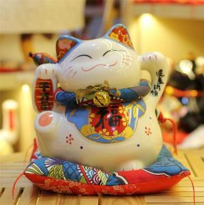 Ceramic lucky cat piggy bank maneki neko money box saving box