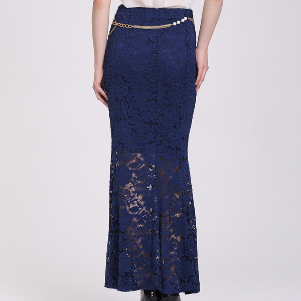 95f7a3ebc Estilo Sirena Diseños Azul Marino ocasional Maxi Faldas Largas de Encaje  Con La Cadena
