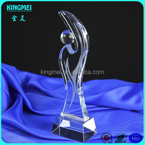 Fashion Transparent Crystal Glass Award golf ball Cup with Ball Top