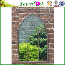 Wholeslae High Quality Antique Wrough Iron Frame Wall Mounted Aspire Home Accents Arched Window Wall Mirror For Home Backyard