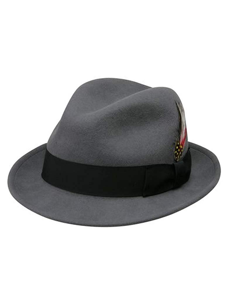 cdccddfb838 Get Quotations · Jake Crushable Pinchfront Fedora Hat in Grey with Black  Band