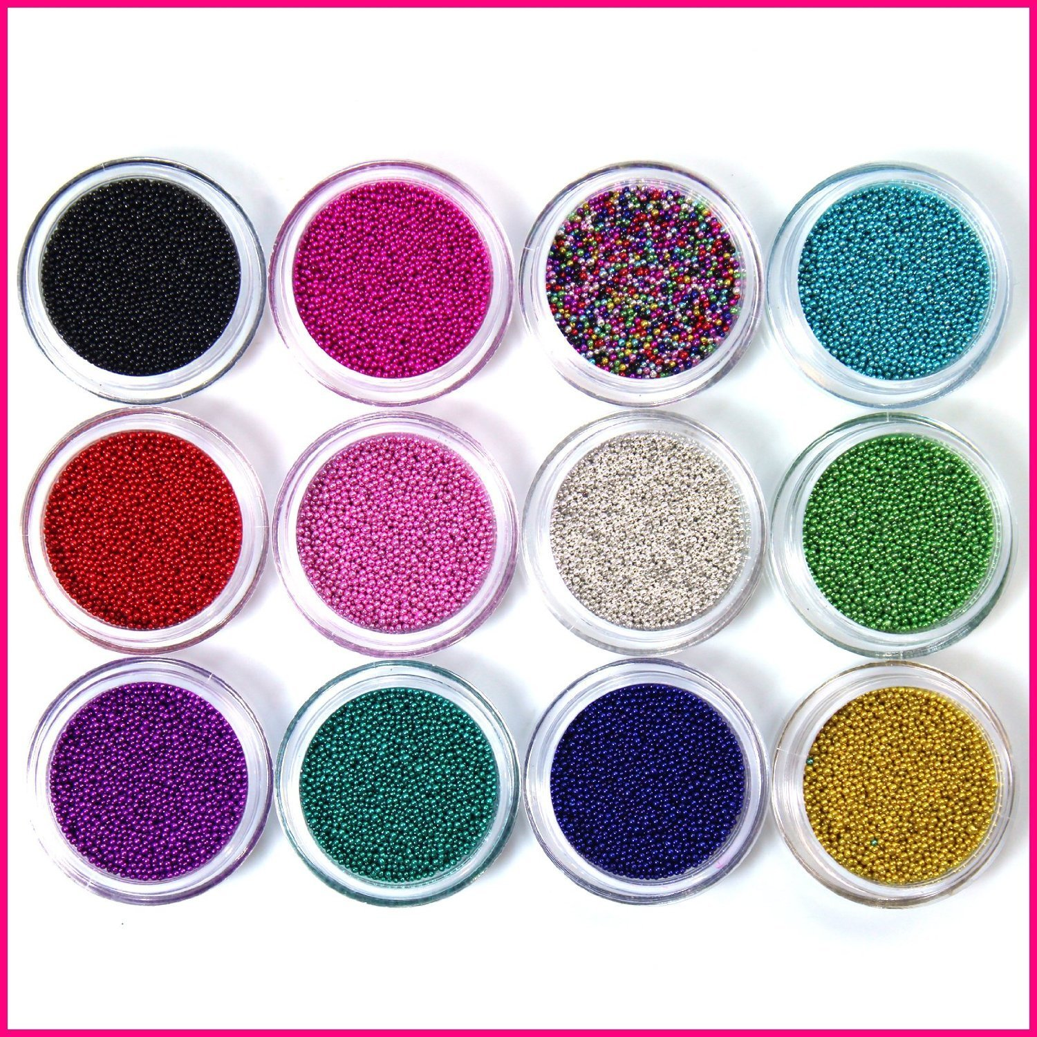 Perfect Summer 12 Colors Nails Polishes Caviar Plastic Beads Pearls Pedicure Manicure DIY Nails Art Decoration Designs Tools Sets