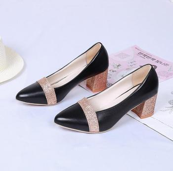 sh10776a Gold color thick heel shoes