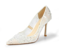 High Quality White Lace Lady Low Heels Pump Bridal Wedding Shoes For Bride