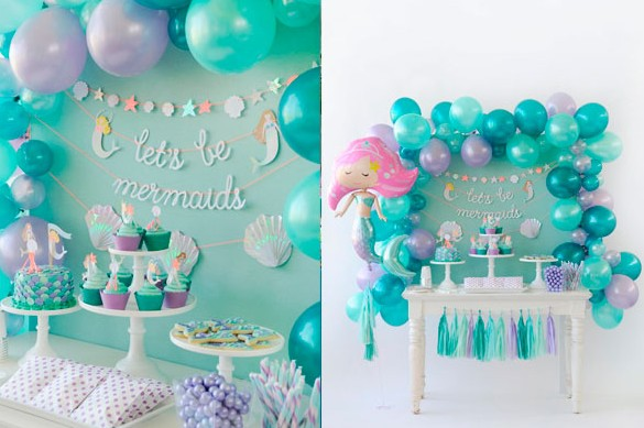Mermaid Banner Bunting Flag cake topper party set for Birthday Party Supplies and Decoration