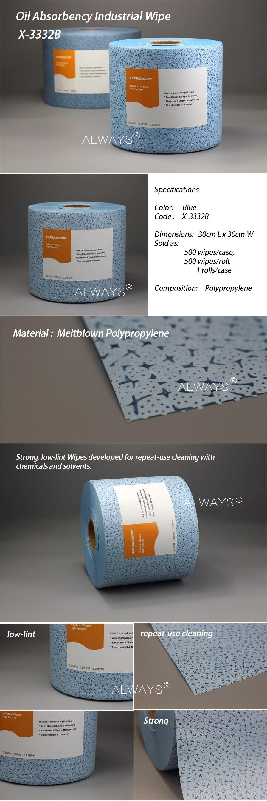 Industrial use Blue meltblown Polypropylene nonwoven fabric cleaning cloth