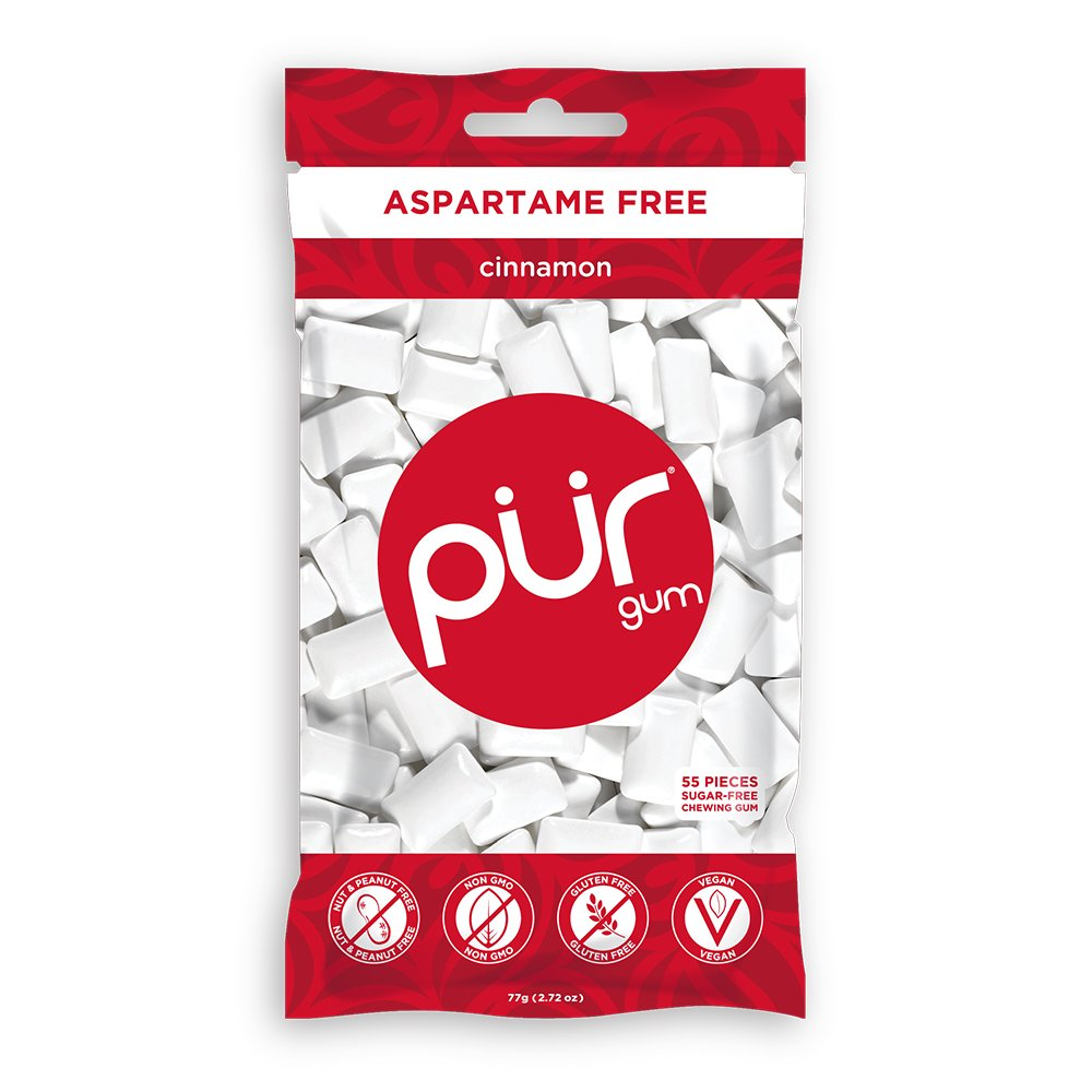 PUR Gum, Cinnamon, 55 pieces - Aspartame Free, Sugar Free, 100% Xylitol, Natural Chewing Gum, Non GMO, Vegan