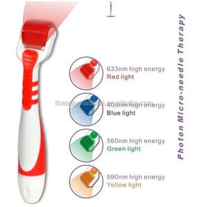 LED Photon Vibrating Titanuim 540 Micro Needles Derma Roller Skin Therapy