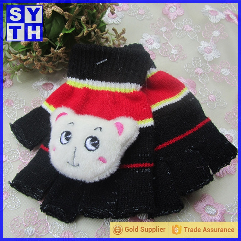 new design warm and cute kids children fashion winter novelty boy 100% acrylic knit gloves