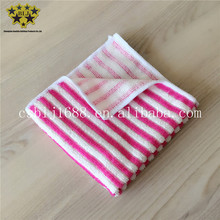 Red And White Stripe Yarn Dyed Microfiber Towel Cleaning Cloth Fabric Super Soft Super Absorbent Made In China