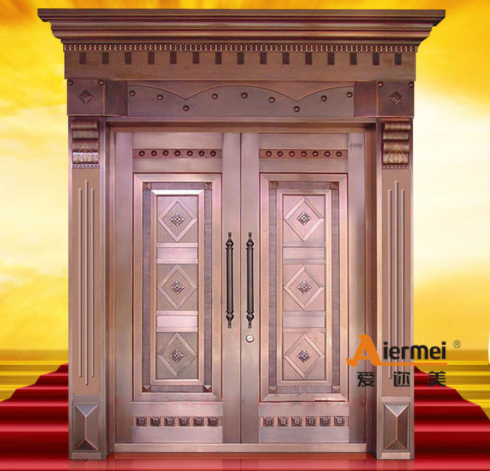 Security copper double door design main entrance door for Front double door designs indian houses