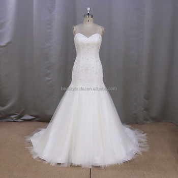 Sl371 New Arrival Real Sample Stone Work Mermaid Bridal Wedding Gown ...