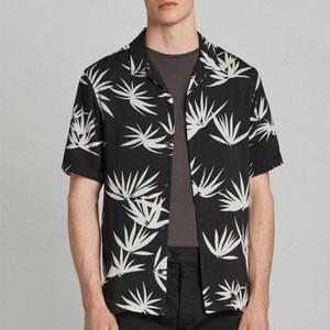 24dc3cd0 wholesale streetwear men's casual slim fit shirts hawaiian shirts mens  black viscose shirt