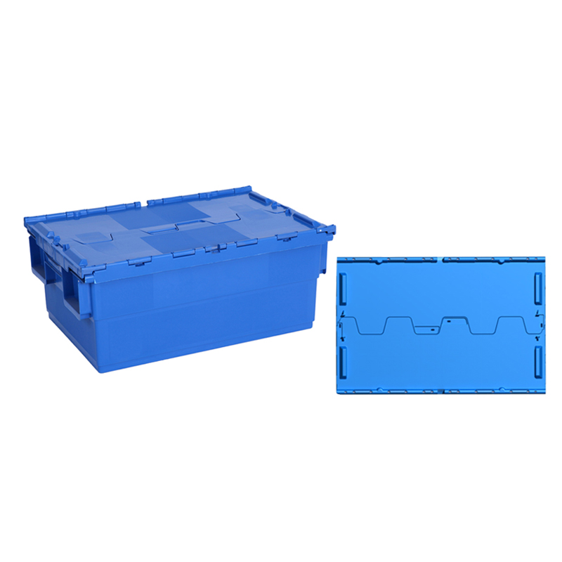 Nested plastic solid storage shipping boxes with hinged lids