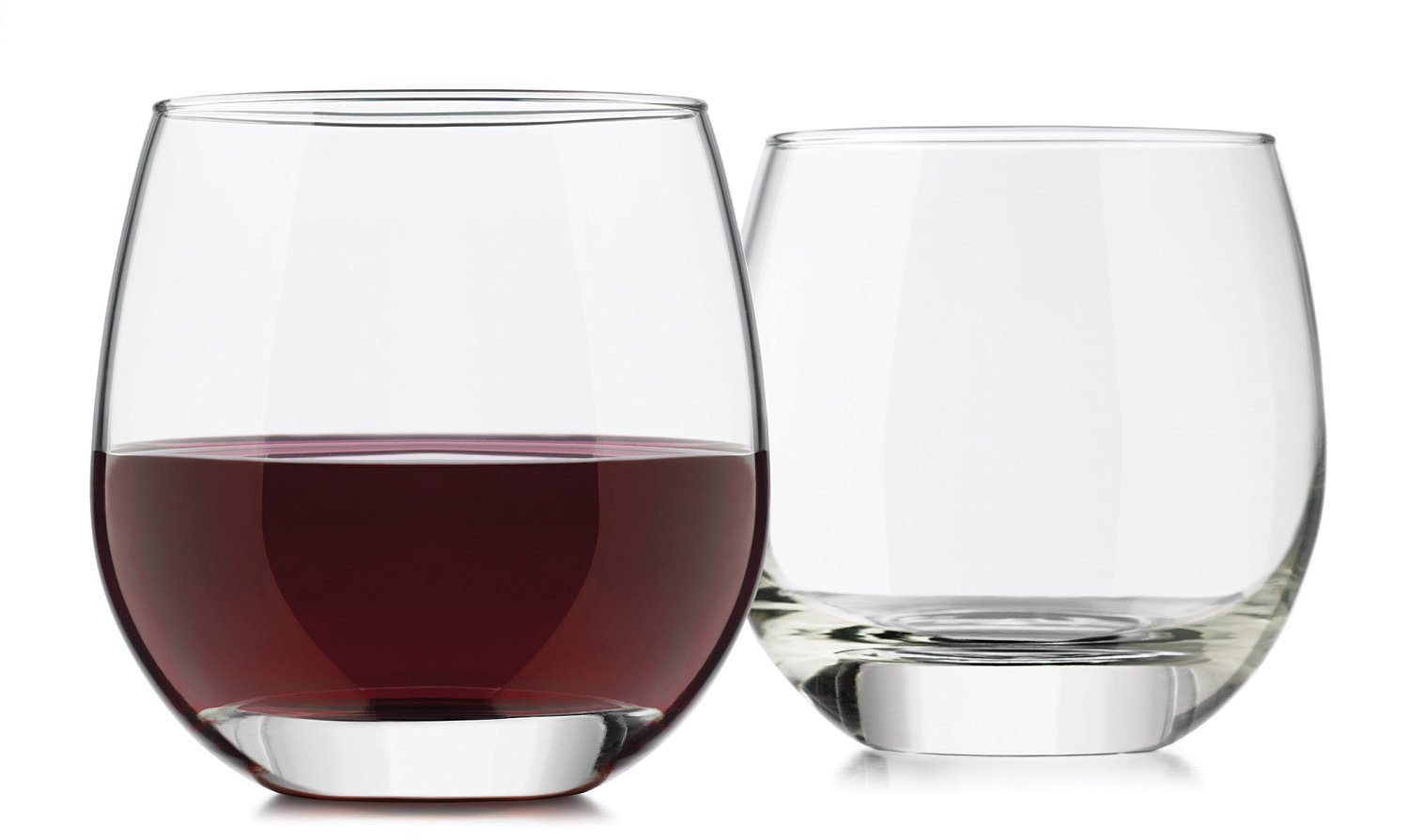 Libbey 4-Piece Alyse Stemless Heavy Base Red Wine Glass, 15-Ounce, Clear