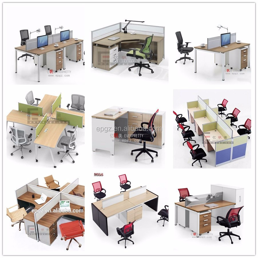 8 Person Office Furniture Work Station, L Type Office Long Table  Workstations