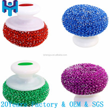 Dish Scouring Mesh Balls with Handle, Dish Scrubbers with Handle