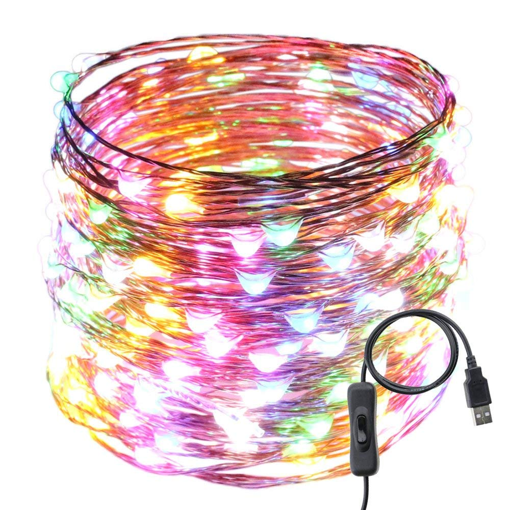 USB Led String Lights,ER CHEN(TM) 200 Leds 66Ft Waterproof Copper Wire String lights with ON/OFF Switch for Bedroom, Patio, Party, Wedding, Christmas Decorative Lights(Multicolor)