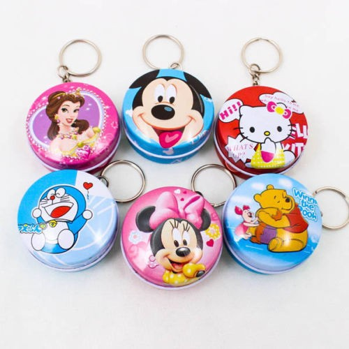 Cartoon Tin Metal Keychain Ring Tin Box Container Jewelry Round Cute