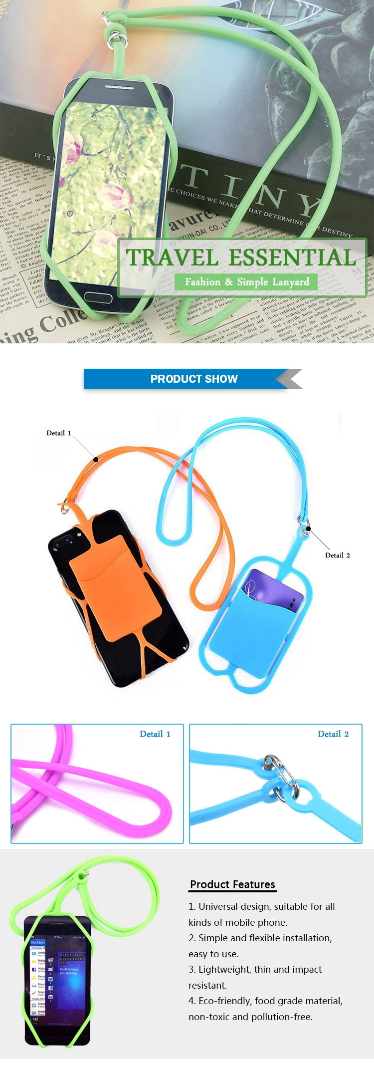 Custom cheap multi-functional universal silicone rubber mobile phone holder lanyard