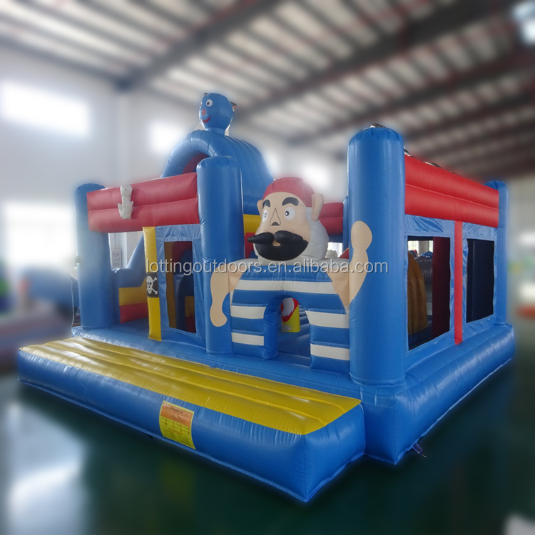 Blue&Red two long slide inflatable bouncer castle pirate ship bouncy castle