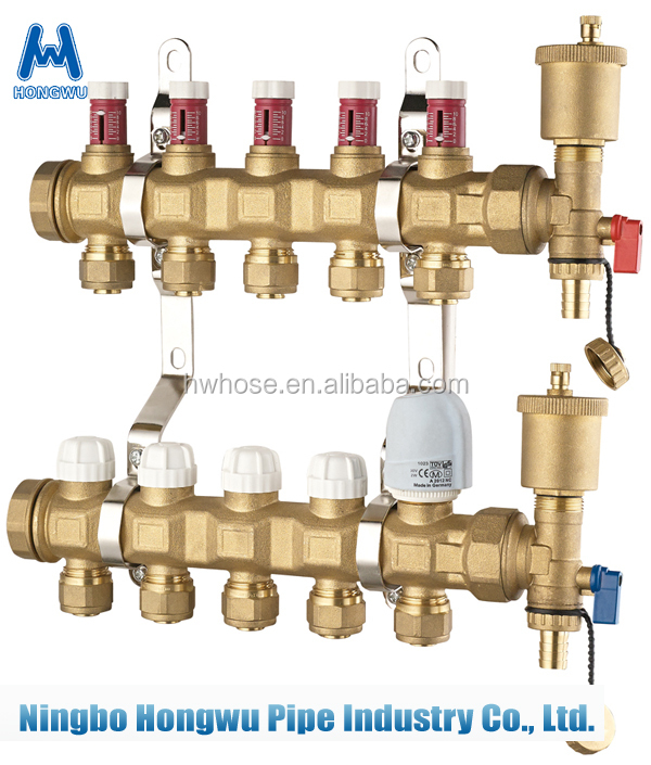 Floor heating thermostat brass water Manifolds for floor system parts